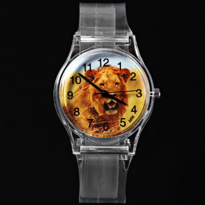 A898 Children Quartz Watch Lion Pattern Round Dial Transparent Rubber Watch BandKids Watches<br>A898 Children Quartz Watch Lion Pattern Round Dial Transparent Rubber Watch Band<br><br>Watches categories: Children watch<br>Watch style: Fashion<br>Available Color: Transparent color<br>Movement type: Quartz watch<br>Shape of the dial: Round<br>Display type: Analog<br>Case material: Plastic<br>Band material: Rubber<br>Clasp type: Pin buckle<br>The dial thickness: 0.9 cm / 0.4 inches<br>The dial diameter: 3.1 cm / 1.2 inches<br>The band width: 1.6 cm / 0.6 inches<br>Product weight: 18 g<br>Product size (L x W x H) : 23 x 3.4 x 0.9 cm / 9.1 x 1.3 x 0.4 inches<br>Package contents: 1 x Watch