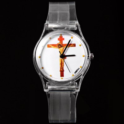 A895WH Children Quartz Watch Cross Pattern Round Dial Transparent Rubber Watch Band