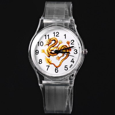 A885 Children Quartz Watch Dragon Pattern Round Dial Transparent Rubber Watch BandKids Watches<br>A885 Children Quartz Watch Dragon Pattern Round Dial Transparent Rubber Watch Band<br><br>Watches categories: Children watch<br>Watch style: Fashion<br>Available Color: Transparent color<br>Movement type: Quartz watch<br>Shape of the dial: Round<br>Display type: Analog<br>Case material: Plastic<br>Band material: Rubber<br>Clasp type: Pin buckle<br>The dial thickness: 0.9 cm / 0.4 inches<br>The dial diameter: 3.1 cm / 1.2 inches<br>The band width: 1.6 cm / 0.6 inches<br>Product weight: 17 g<br>Product size (L x W x H) : 23 x 3.4 x 0.9 cm / 9.1 x 1.3 x 0.4 inches<br>Package contents: 1 x Watch