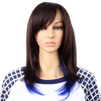 Highlight Women Medium Hair Periwig Hairpiece Wig  -  Reddish Brown and Blue