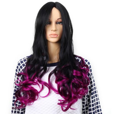 Highlight Women Curl Hair Periwig Hairpiece Wig  -  Black and Purple