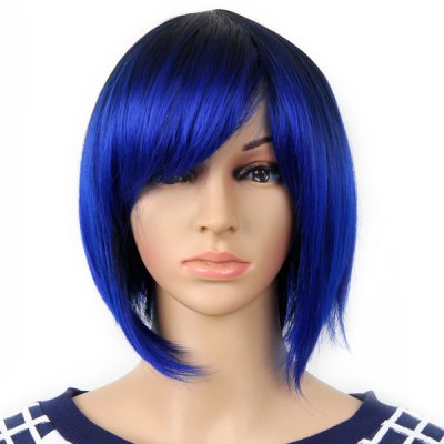 Highlight Women Short Hair Periwig Hairpiece Wig with Fringe  -  Black and Blue