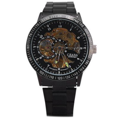 Фотография CJIABA KB - 8006C Automatic Mechanical Watch Male Hollow Out Wristwatch with Stainless Steel Body