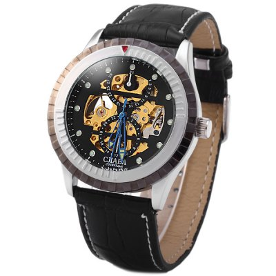 ФОТО CJIABA KB - 8003 Men Automatic Mechanical Watch Hollow Out Leather Strap Round Dial