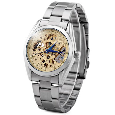 ФОТО CJIABA KB - 193 - B Hollow - out Automatic Mechanical Watch Male Carve Patterns Round Dial Wristwatch