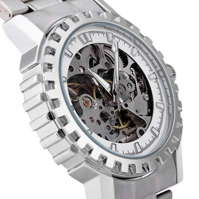 Фотография CJIABA KB - 8007 Luminous Analog Automatic Mechanical Watch Hollow - out Round Dial
