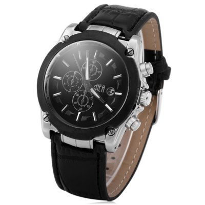 ФОТО Hea RSP13003 - 03 Men Luminous Japan Quartz Watch with Date Decorative Sub - dials Water Resistance Leather Watchband