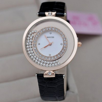 Гаджет   Moveable Diamond Female Quartz Watch Japan Movement Round Dial PU Band