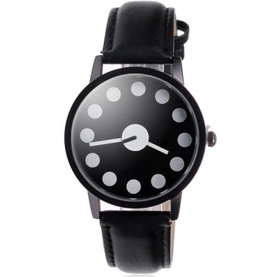 Fashionable Polka Dot Tyle Quartz Watch Japan Movt Round Dial PU Band for Women