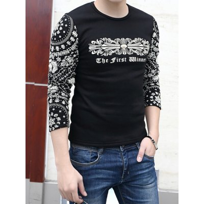 Гаджет   China Style Round Neck Slimming Ethnic Print Long Sleeves Splicing Men
