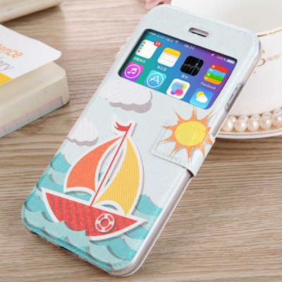 Гаджет   Fashionable Boat Pattern PU and TPU Case Cover for iPhone 6 Plus  -  5.5 inches iPhone Cases/Covers