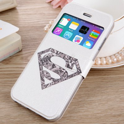 Гаджет   Fashionable White Super Man Shield Pattern PU and TPU Case Cover for iPhone 6  -  4.7 inches iPhone Cases/Covers