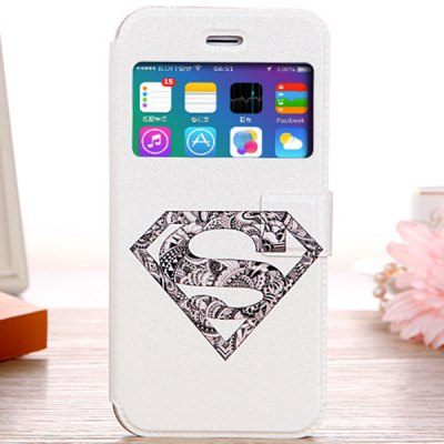 Fashionable White Super Man Shield Pattern PU and TPU Case Cover for iPhone 6  -  4.7 inches