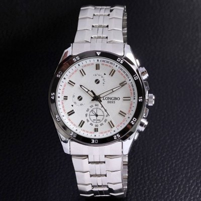 Longbo 8693 Round Quartz Water Resistant Watch for MaleMens Watches<br>Longbo 8693 Round Quartz Water Resistant Watch for Male<br><br>Watches categories: Male table<br>Watch style: Fashion<br>Available color: Black, White<br>Movement type: Quartz watch<br>Shape of the dial: Round<br>Display type: Analog<br>Case material: Alloy<br>Band material: Stainless steel<br>The dial diameter: 4cm<br>The band width: 2.1cm<br>Product weight: 0.14 kg<br>Package weight: 0.200 kg<br>Product size (L x W x H): 24 x 4 x 1 cm / 9.4 x 1.6 x 0.4 inches<br>Package size (L x W x H): 25 x 5 x 2 cm<br>Package Contents: 1 x Watch