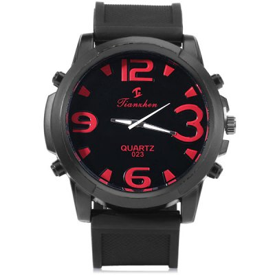 Jianxhen 023 Men Quartz Watch Rubber Strap Round Dial Date DisplayMens Watches<br>Jianxhen 023 Men Quartz Watch Rubber Strap Round Dial Date Display<br><br>Watches categories: Male table<br>Watch style: Fashion<br>Available color: Black, Red, Blue<br>Movement type: Quartz watch<br>Shape of the dial: Round<br>Display type: Analog<br>Case material: Metal<br>Case color: Black<br>Band material: Rubber<br>Clasp type: Pin buckle<br>Band color: Black<br>Special features: Decorating small sub-dials<br>The dial thickness: 1.2 cm / 0.5 inches<br>The dial diameter: 5.5 cm / 2.2 inches<br>The band width: 2.8 cm / 1.1 inches<br>Product weight: 0.104 kg<br>Product size (L x W x H): 27.5 x 5.5 x 1.2 cm / 10.8 x 2.2 x 0.5 inches<br>Package Contents: 1 x Men Wrist Watch