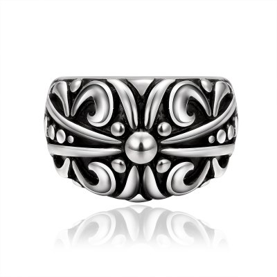 Stylish Flower Pattern Carved Ring For Men