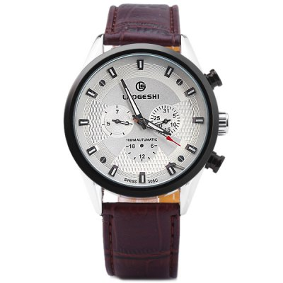 ФОТО Laogeshi 306C Mechanical Watch Automatic Wristwatch Round Dial Leather Strap for Men