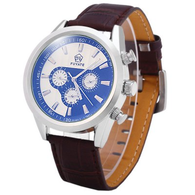 ФОТО Fuyate 2216C Leather Band Men Automatic Mechanical Watch Round Dial with Working Sub - dials