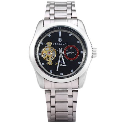ФОТО Laogeshi Male Automatic Mechanical Watch Stainless Steel Band Toubillon Moon Phase