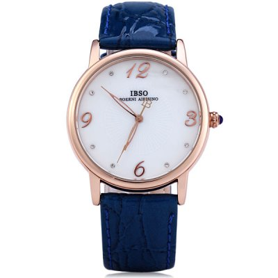 Гаджет   IBSO 3808 Shell Dial Leather Band Male Quartz Watch Simple Round Dial Men