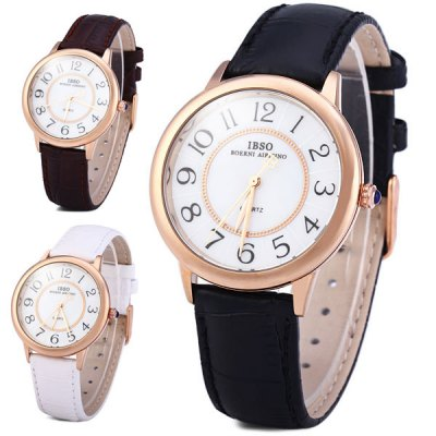 IBSO 3811 Leather Band Male Quartz Watch Simple Round Dial