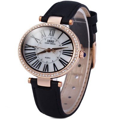 Гаджет   IBSO 3809 Female Quartz Watch with Diamoind Leather Band Oval Dial Women