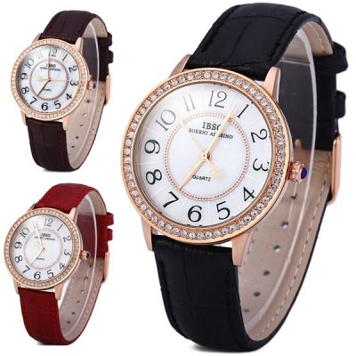 Гаджет   IBSO 3812 Shell Dial Leather Band Male Diamond Quartz Watch Simple Round Dial Men