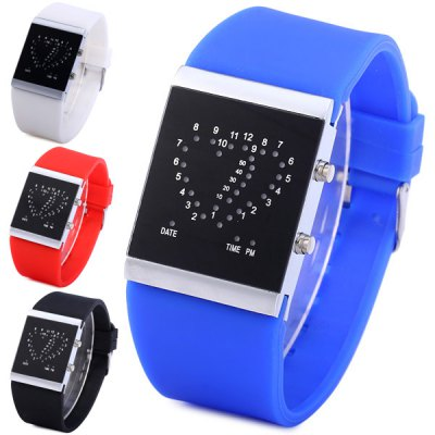 Гаджет   Double Heart LED Sports Watch Date Rubber Strap for Men Women Sports Watches