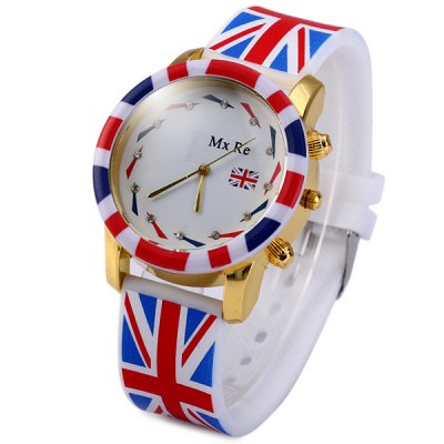 Гаджет   MxRe Quartz Watch with British Flag Round Dial Rubber Strap for Women or Men Unisex Watches