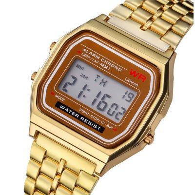 Rectangle Dial LED Sports Watch Alarm Day Stainless Steel Strap for Men