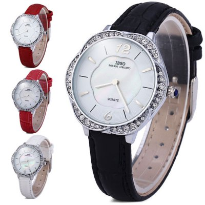 Гаджет   IBSO 3819 Female Quartz Watch with Diamoind Flower Shaped Dial Leather Band
