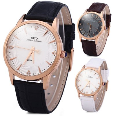 Гаджет   IBSO 3830 Male Quartz Watch Simple Round Dial Leather Band Men