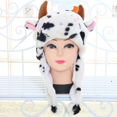 Cow Design Padded Plush Protective Ear Bomber Hat / Cap