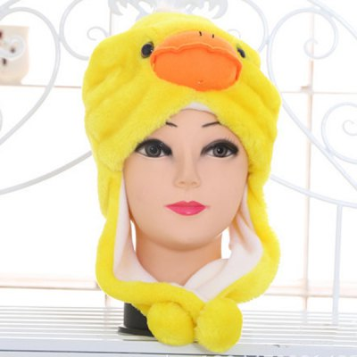 Yellow Duck Design Padded Plush Protective Ear Bomber Hat / Cap