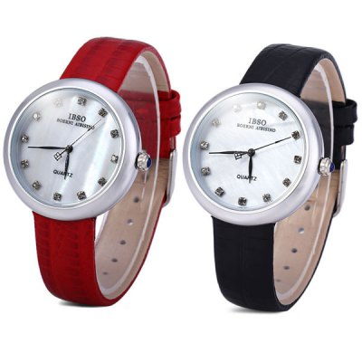 Гаджет   IBSO 3859 Female Quartz Watch with Diamoind Leather Band Gold Case Women