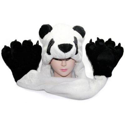 Panda Design Plush Protective Ear Bomber Hat / Cap with Paw Shape Gloves