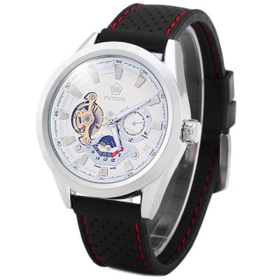 Гаджет   Yuyate 2216 Tourbillon Automatic Mechanical Watch Male Moon Phase Wristwatch Rubber Band Men
