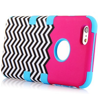 ФОТО Wave Pattern Silicone and PC Material Back Case Cover for iPhone 6 Plus  -  5.5 inches