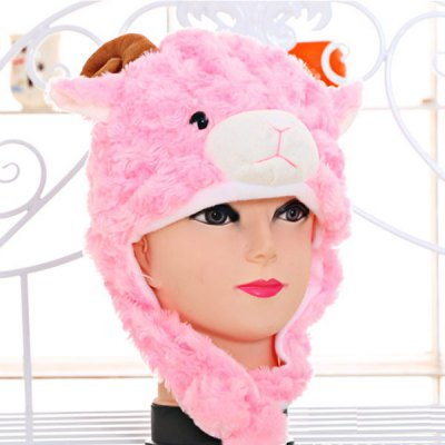 Sheep Design Padded Plush Protective Ear Bomber Hat / Cap