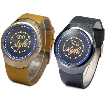 SDO T - 21403 LED Watch Flash LED Touch Watches Leather Band Water ResistantSports Watches<br>SDO T - 21403 LED Watch Flash LED Touch Watches Leather Band Water Resistant<br><br>People: Unisex table<br>Watch style: Fashion&amp;Casual<br>Available color: Black, Brown<br>Shape of the dial: Round<br>Movement type: Digital watch<br>Display type: LED lamp<br>Case material: Stainless Steel<br>Band material: Leather<br>Clasp type: Pin buckle<br>Water Resistance: 30 meters<br>The dial thickness: 1.0 cm / 0.4 inches<br>The dial diameter: 4.2 cm / 1.7 inches<br>The band width: 2.2 cm / 0.9 inches<br>Product weight: 0.057 kg<br>Package weight: 0.15 kg<br>Product size (L x W x H) : 25 x 4.2 x 1.0 cm / 9.8 x 1.7 x 0.4 inches<br>Package size (L x W x H): 12 x 8.4 x 6 cm<br>Package contents: 1 x Watch