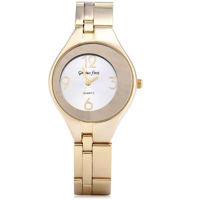 ФОТО Genius Frist Gold Quartz Watch Round Dial Stainless Steel Band for Lady
