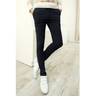 Гаджет   Slimming Stylish Ethnic Pocket Hemming Narrow Feet Thicken Cotton Blend Pants For Men Pants