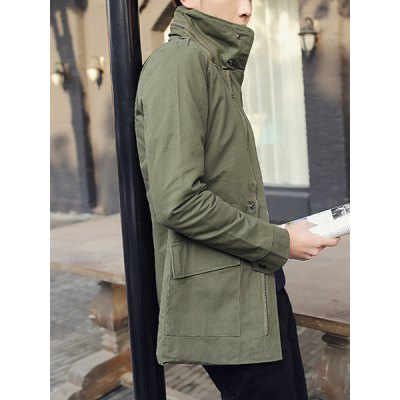 ФОТО Stylish Turndown Collar Slimming Large Pocket Zipper Design Long Sleeve Thicken Cotton Blend Trench Coat For Men