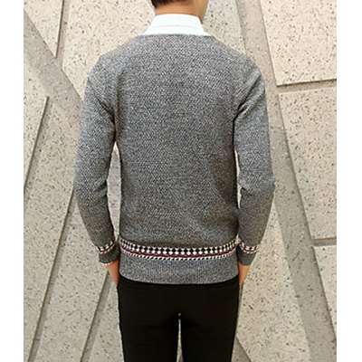 Гаджет   Laconic V-Neck Color Block Ethnic Jacquard Splicing Slimming Long Sleeves Men