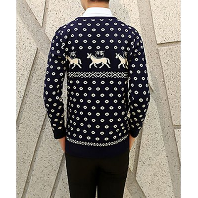 Гаджет   Slimming Trendy Round Neck Coin and Horse Jacquard Long Sleeves Men
