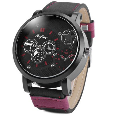 Гаджет   Xifeng Male Analog Watch Round Dial Leather Strap Quartz Wristwatch Men