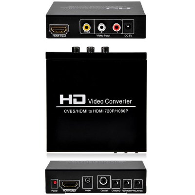 New Digital HD AV + HDMI to HDMI Video Converter for STB DVD PS2 PS3 PSP WII HDV - 8A
