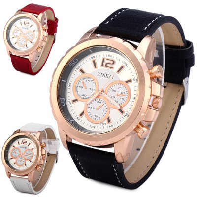 Xinkai 1223 Male Watch Quartz Wristwatch Analog Round Dial Leather StrapMens Watches<br>Xinkai 1223 Male Watch Quartz Wristwatch Analog Round Dial Leather Strap<br><br>Watches categories: Male table<br>Watch style: Fashion<br>Available color: White, Red, Black<br>Movement type: Quartz watch<br>Shape of the dial: Round<br>Display type: Analog<br>Case material: Stainless steel<br>Band material: Leather<br>Clasp type: Pin buckle<br>Special features: Decorating small sub-dials<br>The dial thickness: 1.2 cm / 0.5 inches<br>The dial diameter: 5.0 cm / 2.0 inches<br>The band width: 2.2 cm / 0.9 inches<br>Product weight: 0.055 kg<br>Product size (L x W x H): 26 x 5.0 x 1.2 cm / 10.2 x 2.0 x 0.5 inches<br>Package Contents: 1 x Watch