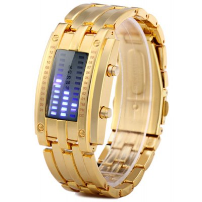 Gold LED Watch Bracelet Date Display Stainless Steel Body