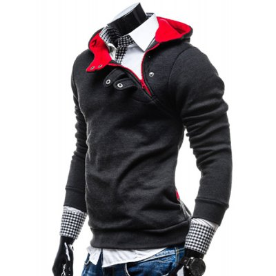 ФОТО Stylish Hooded Slimming Color Splicing Zipper Design Long Sleeve Thicken Polyester Hoodie For Men